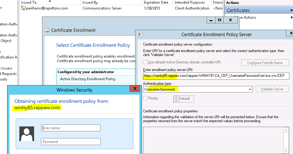 Enter Enrollment Policy Server Uri