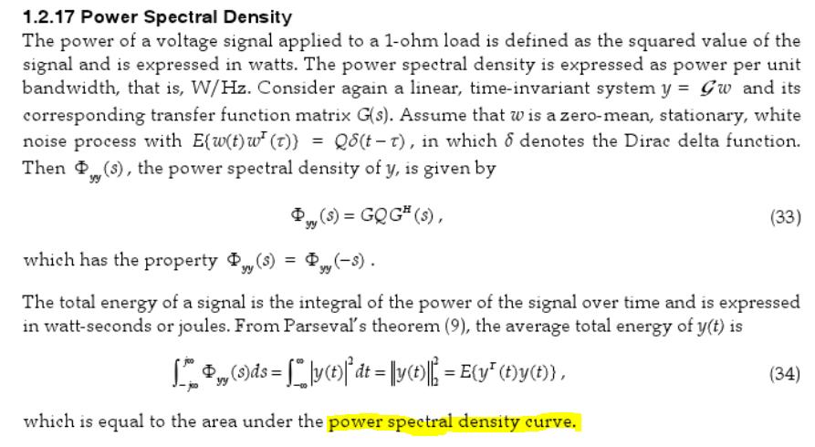power spectral density curve