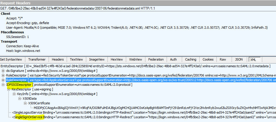 first debugging trial of PingFederate (modern) to Azure ACS