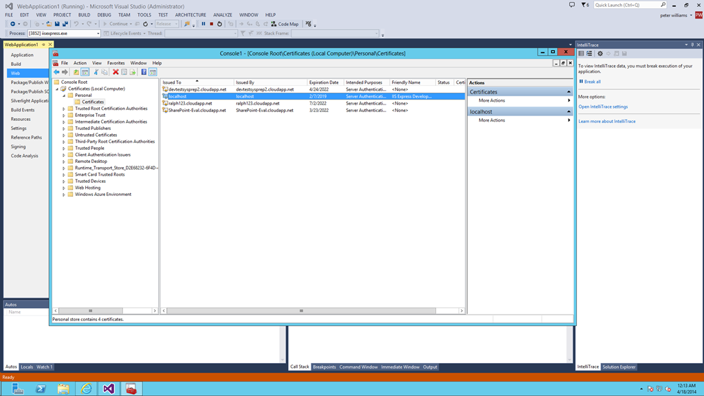 Azure Virtual Machine With Msdn Image Iis Express Peters