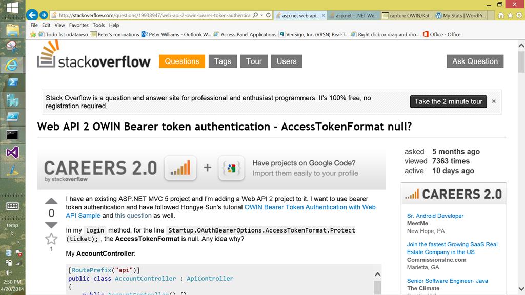 owin webapi authorization server bearer provider | Peter's ruminations